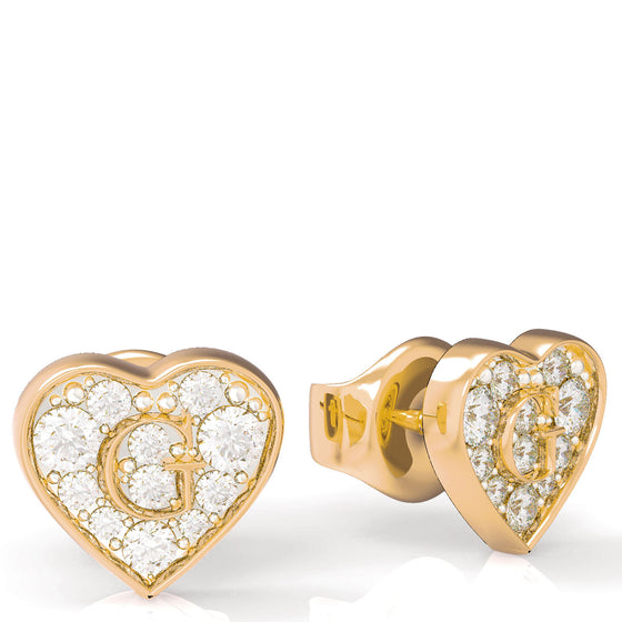 Guess Shine Crystal Heart Gold Earrings
