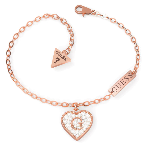 Guess Shine Crystal Heart Rose Gold Bracelet