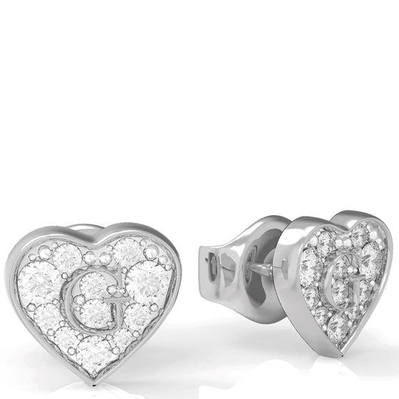 Guess Shine Crystal Heart Silver Earrings