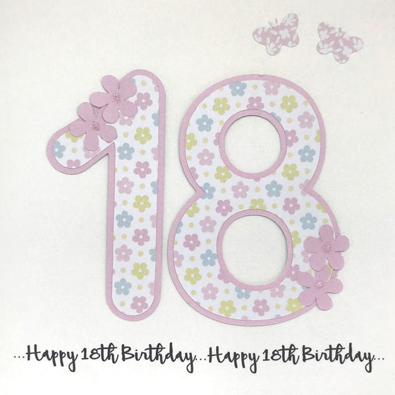 Happy 18th Birthday Card - Floral Number