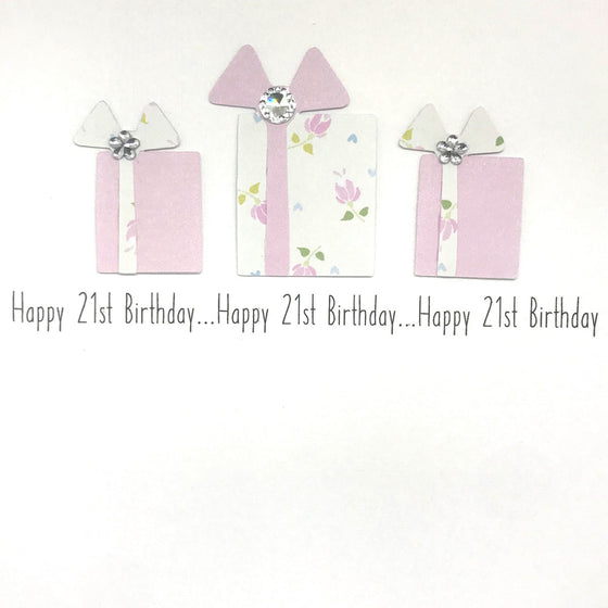 Happy 21st Birthday Card - Trio Presents