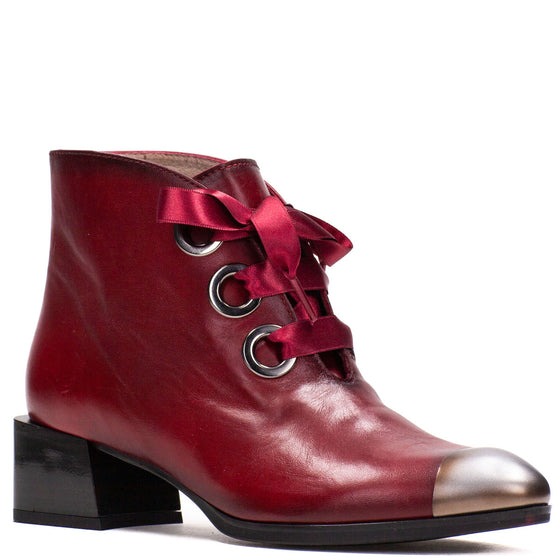 Hispanitas Red Leather Lace Up Boots