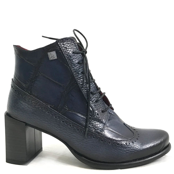 Jose Saenz Navy Leather Lace Boots