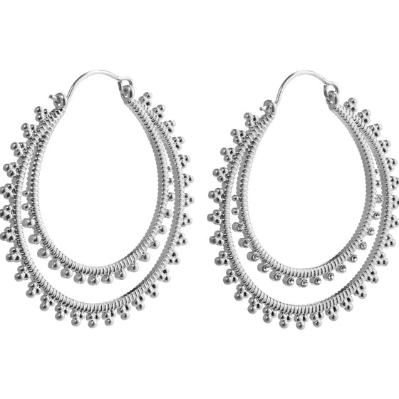 Pilgrim Joy Silver Hoop Earrings