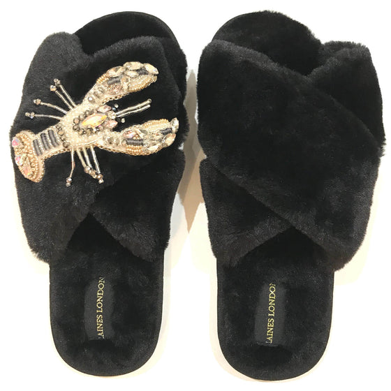 Laines London Black Open Toe Slippers - Lobster