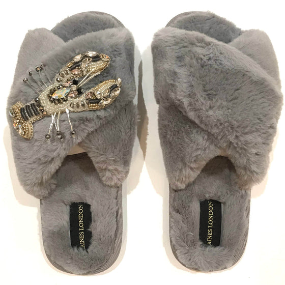 Laines London Grey Open Toe Slippers - Lobster