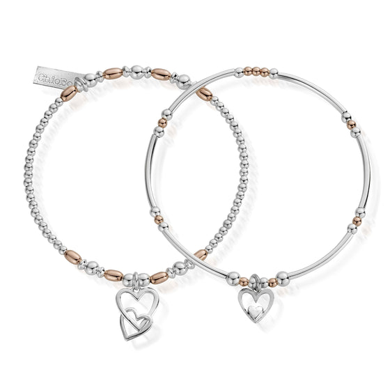 ChloBo Inner Spirit Double Heart Bracelet Set - Two Tone
