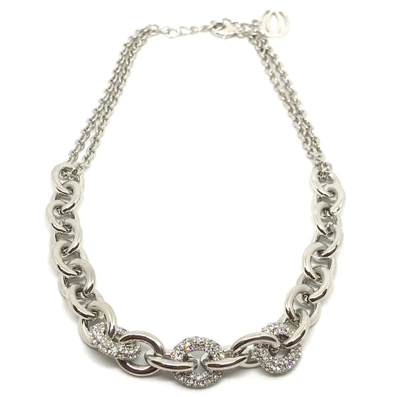 Nour Chunky Pave Chain Necklace - Silver