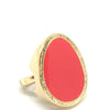 Nour Gold Oval Coral Enamel Ring