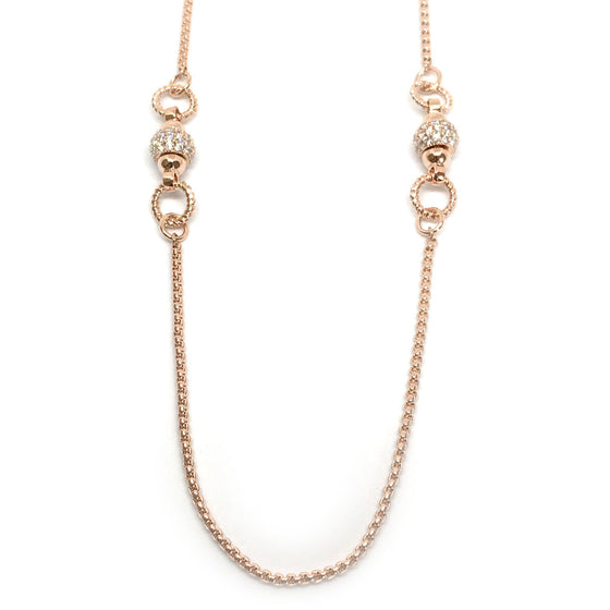 Nour Rose Gold Ball Long Necklace