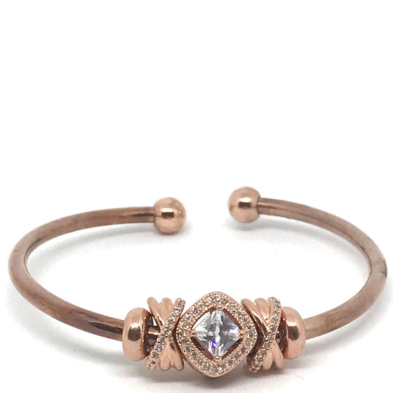 Nour Rose Gold Crystal Cuff Bangle