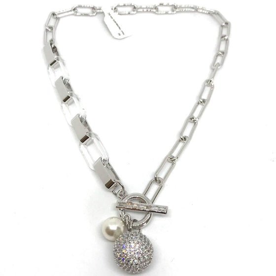 Nour Silver Pave Ball Clear Resin Link Necklace