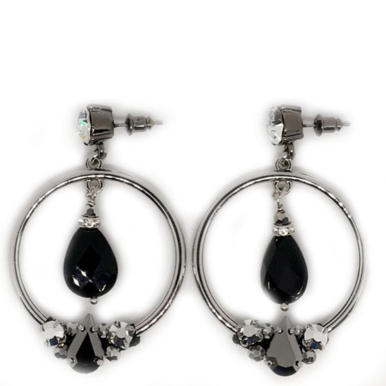 Nour Tear Drop Onyx Drop Earrings
