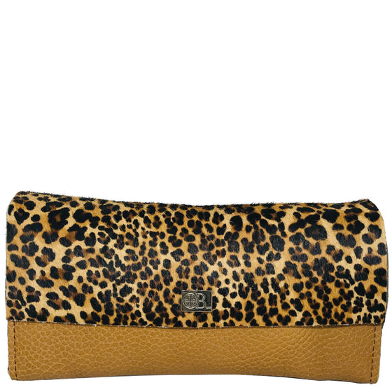 Owen Barry Large Vermont Leopard on Toffee Leather Purse