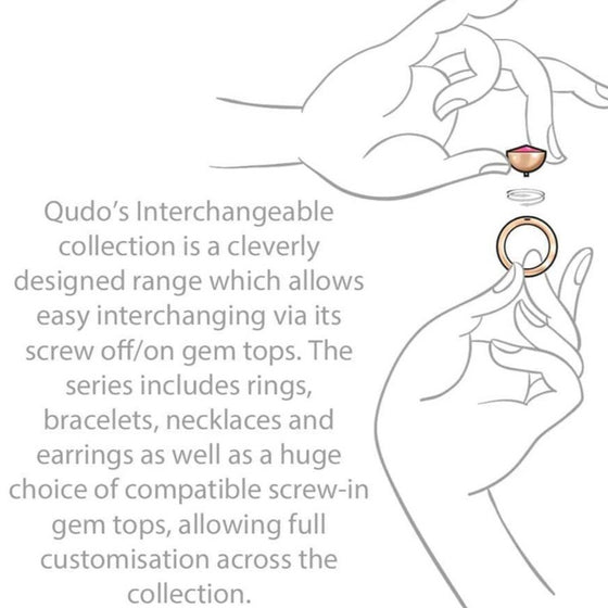 Qudo Cetta Mini 8mm Rose Gold Topper - Jet Hematite