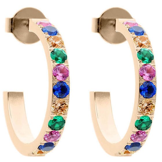 Qudo Rainbow Hoop Earring - Gold