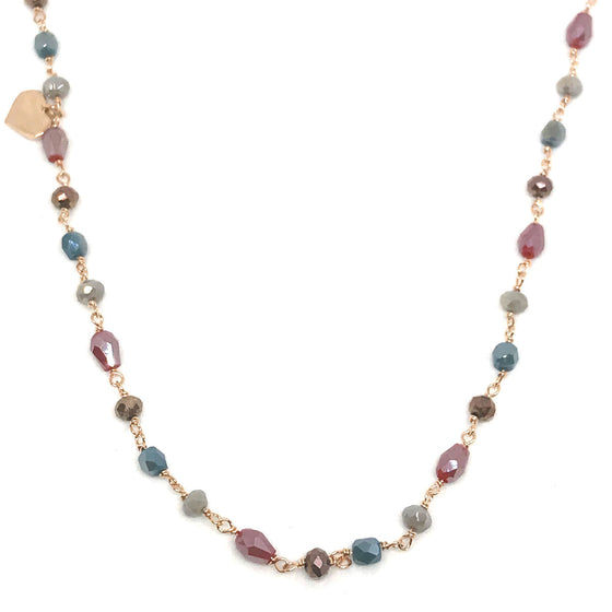 Rebecca Multi Hydrothermal Stone Necklace - Rose Gold