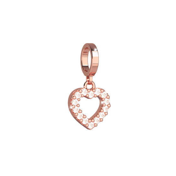 Rebecca My World Rose Gold Crystal Heart Charm