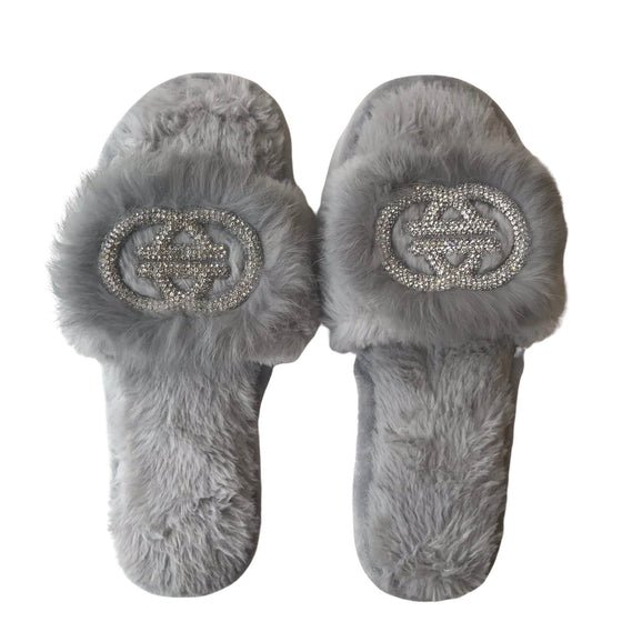 Sparkly Fluffy Slippers - Grey