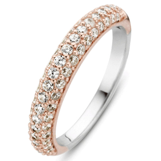 Ti Sento Silver & Rose Gold Ring - Size 58