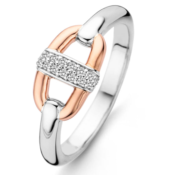 Ti Sento Silver & Rose Gold Ring - Size 56