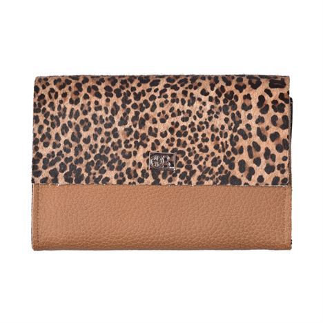 Owen Barry Small Vermont Mini Leopard on Toffee Leather Purse