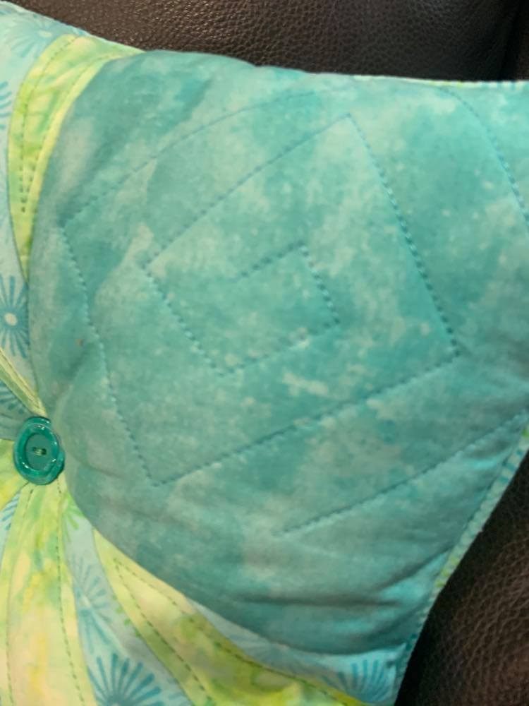 "Quilted Throw - ""Wacky Comfort""  (Turquoise & Teal w/matching accent pillow)"