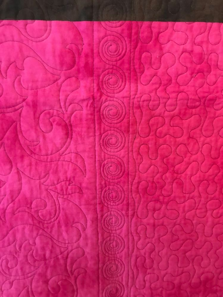 "Quilted Throw - ""Rosy Petals"" (Pink & Brown)"