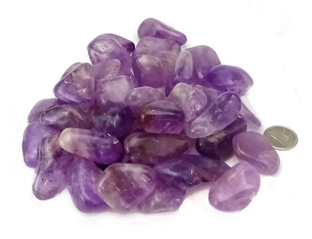 "GEM - Amethyst Tumbled  Stones 7/8"" to 1.25"" (2-3.5cm)"