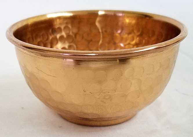 "Copper Bowl - 2"" diam hand hammered (100% solid copper)"