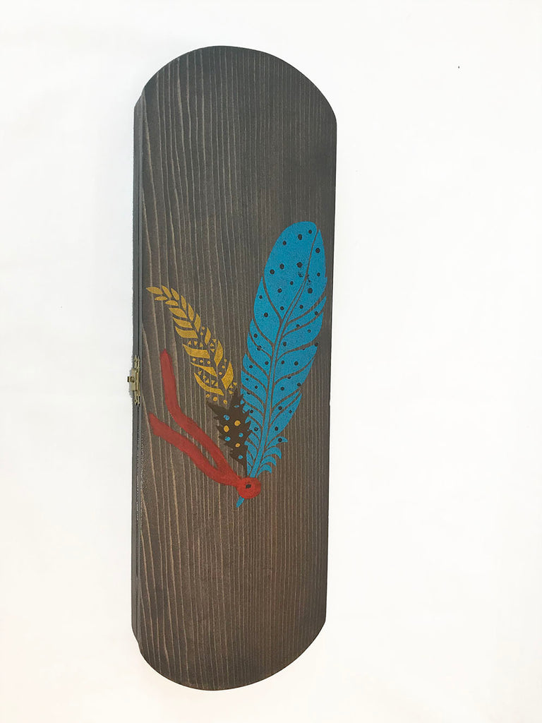 Wooden Feather Carrier Rounded - Painted Blue Feather