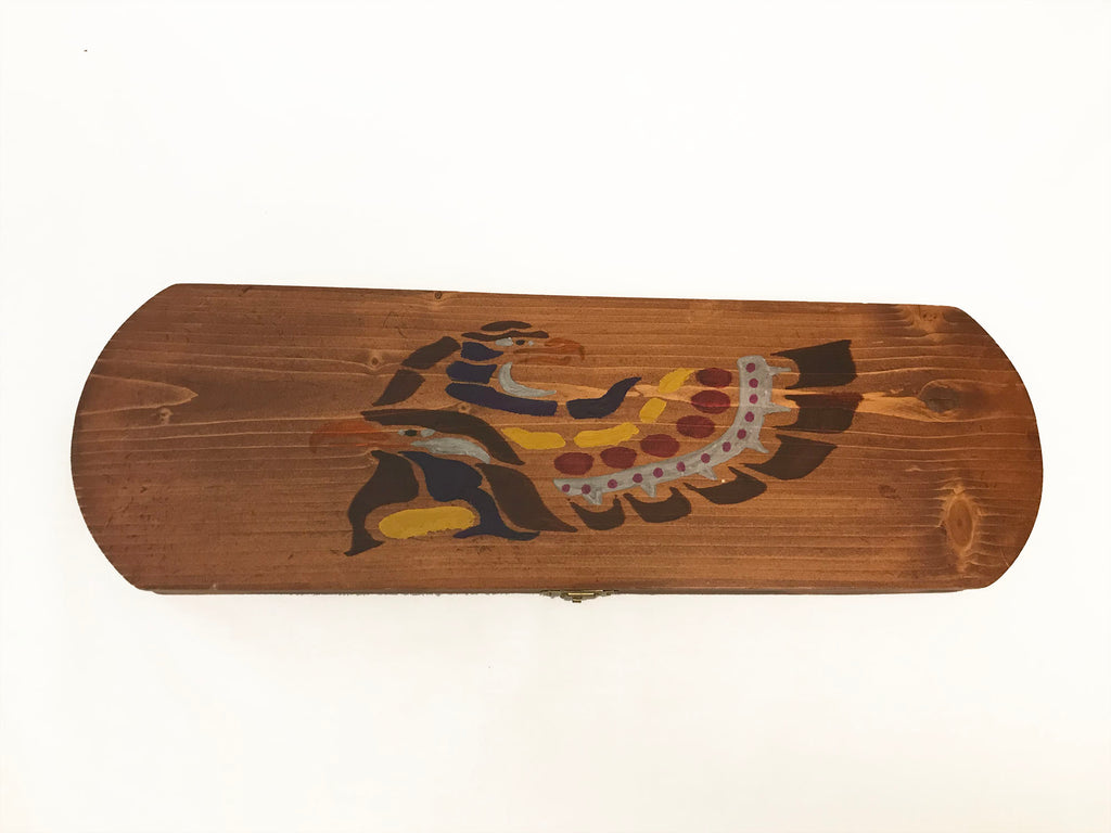 Wooden Feather Carrier Rounded - Painted Multicoloured Eagle