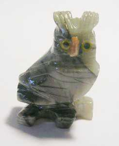 "Soapstone - Owl (Side Facing) (1.5"") made in Peru"