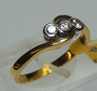Graduated Three Stone Diamond Ring, 18ct Gold, Cross-Over