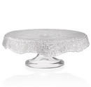 Diamante Footed Cakestand Scalloped  26cm