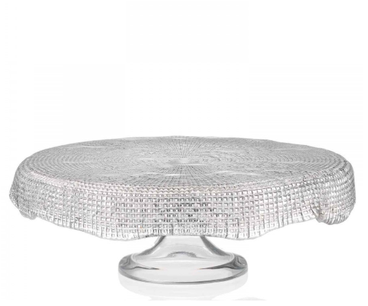 Diamante Footed Cakestand Scalloped 33cm