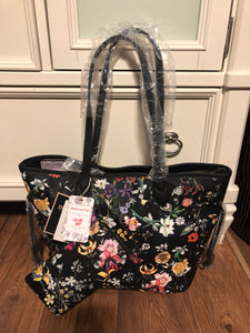 Black Floral tote set