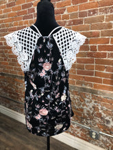 Load image into Gallery viewer, Black Crochet floral top
