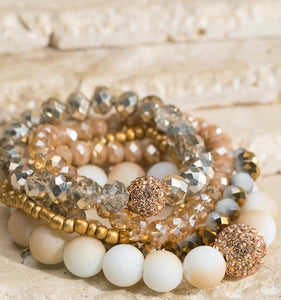 5 set Shimmering glass bead bracelets