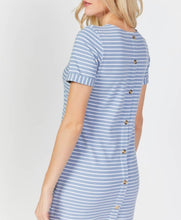 Load image into Gallery viewer, Striped button back dress