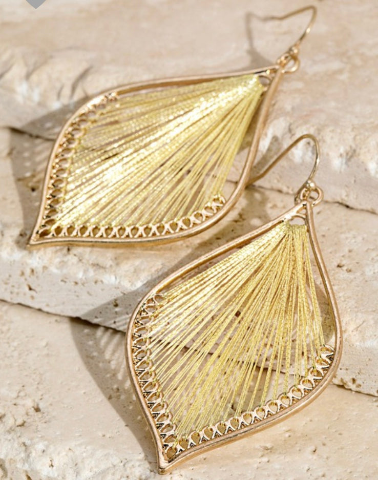 Metallic thread dangle earrings