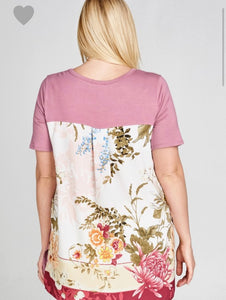 Floral back print top (plus)