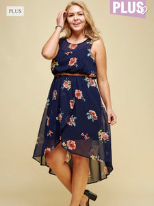 Floral tulip skirt dress with belt