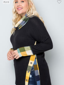 Checker cowl neck top