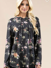 Load image into Gallery viewer, Floral print ultra soft lightweight hoodie
