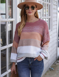 Shimmer color block sweater