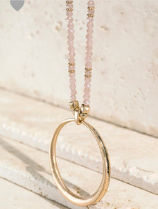 Glass Bead Gold Plated Ring Necklace