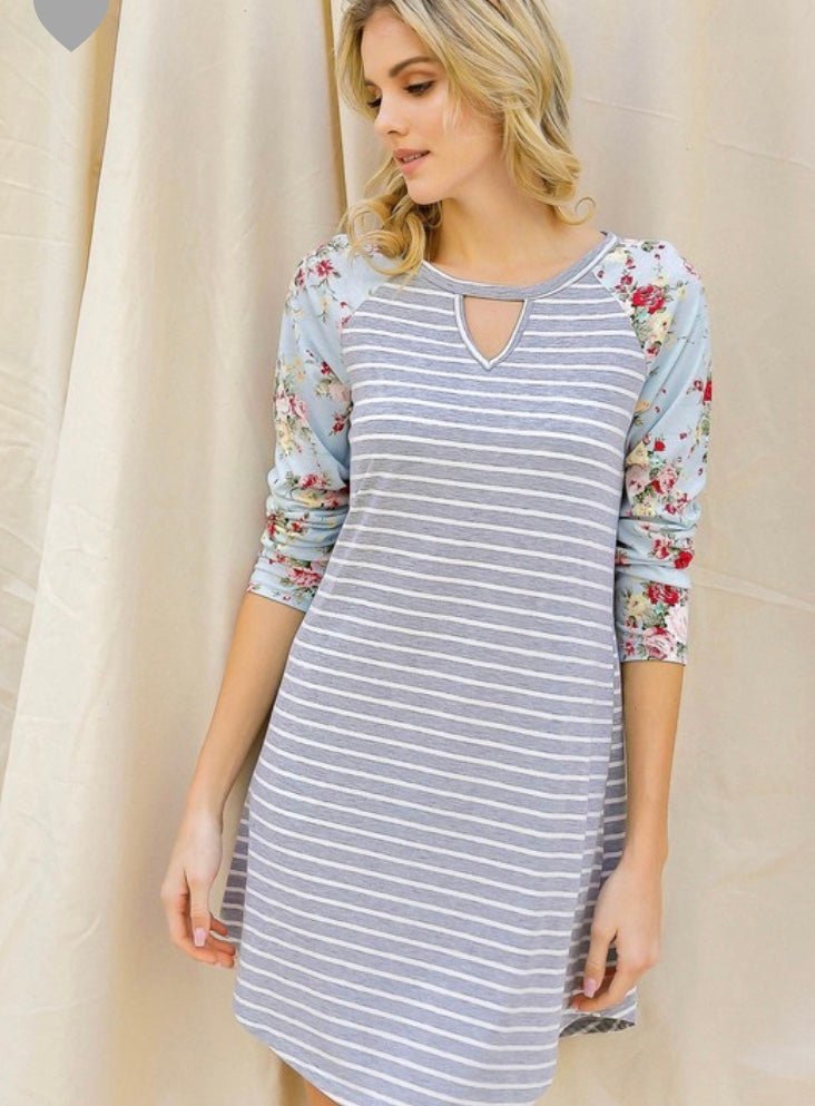 Striped floral sleeve dress