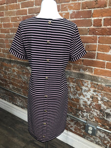 Striped button back dress