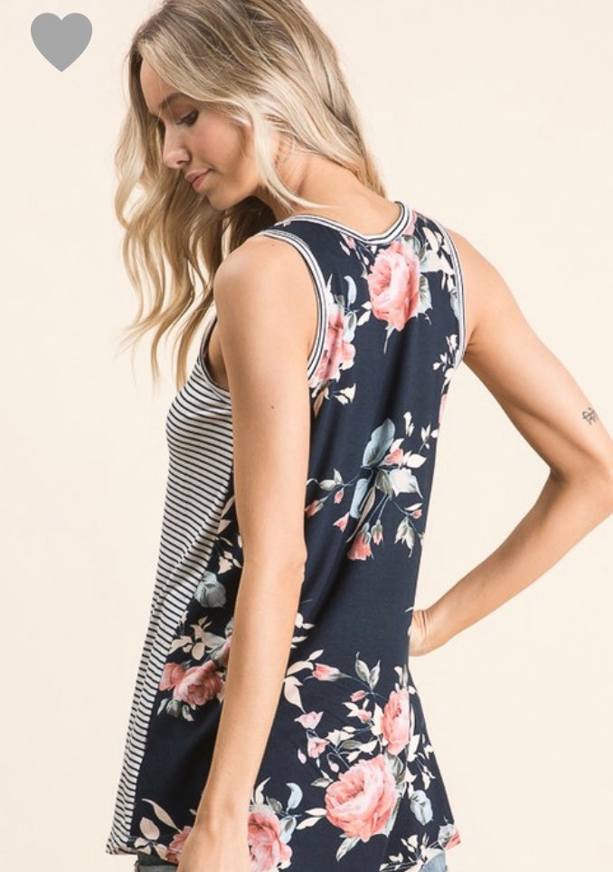 Floral striped tank (Reg.)